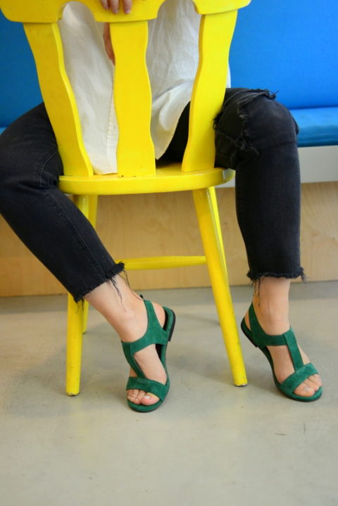 Bahia green - Χειροποίητα φλατ πέδιλα με έξτρα μαλακό πάτημα. - Fabrica Fabrica
