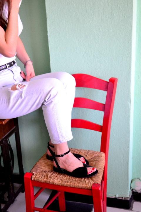 Mariposa black - Χειροποίητα φλατ πέδιλα με έξτρα μαλακό πάτημα και κούμπωμα στο πλάι. - Fabrica Fabrica