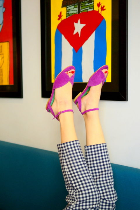 Mariposa violet - Χειροποίητα φλατ πέδιλα με έξτρα μαλακό πάτημα και κούμπωμα στον αστράγαλο. - Fabrica Fabrica